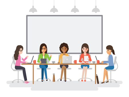 Young businesswomen meeting in conference room, business team brainstorming together in office. Flat design people characters.