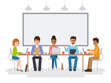 Businessmen and businesswomen meeting in conference room, business team brainstorming together in office. Flat design people characters. Illustration
