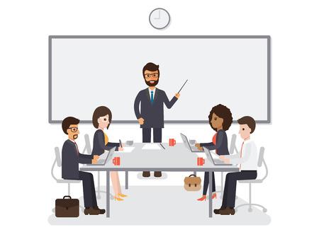 Hommes d'affaires et femmes d'affaires réunion dans la salle de conférence, équipe de travail de remue-méninges ensemble dans le bureau. Personnages de personnes design plat. Banque d'images - 72361645