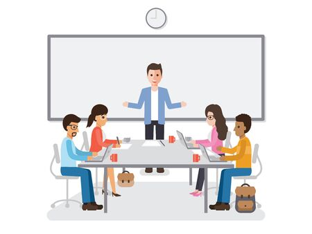 brainstorming: Businessmen and businesswomen meeting in conference room, business team brainstorming together in office. Flat design people characters. Illustration