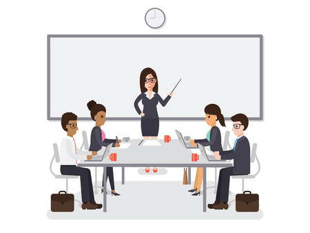 Businessmen and businesswomen meeting in conference room, business team brainstorming together in office. Flat design people characters. Ilustração