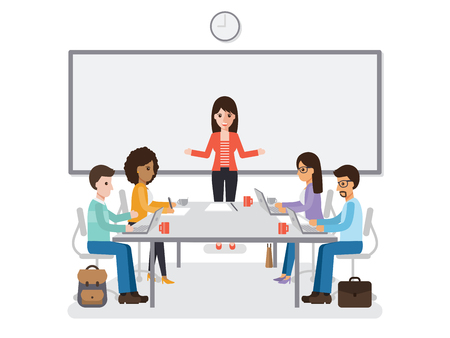 office team: Businessmen and businesswomen meeting in conference room, business team brainstorming together in office. Flat design people characters. Illustration