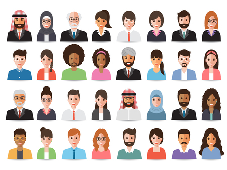 Group of working people, business men and business women avatar icons. Flat design people characters. Çizim