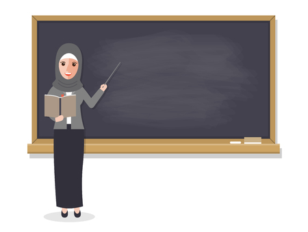Muslim teacher, professor standing in front of blackboard teaching student in classroom at school, college or university. Vector illustration of flat design people characters.