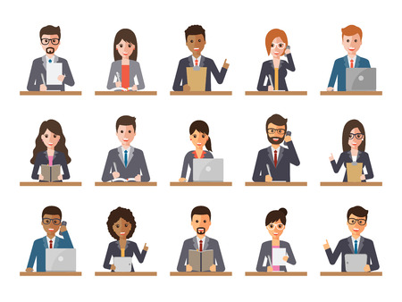 Group of diverse working people on white background. Businessman and businesswoman using laptop, tablet and smartphone. Vector illustration of flat design people characters. Ilustração