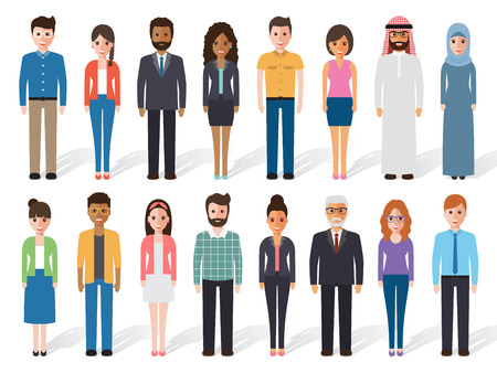 Group of working people standing on white background. Business men and business women. Vector illustration of flat design people characters.