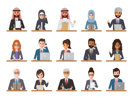 woman laptop: Group of diverse working people on white background. Businessman and businesswoman using laptop, tablet and smartphone. Vector illustration of flat design people characters. Illustration
