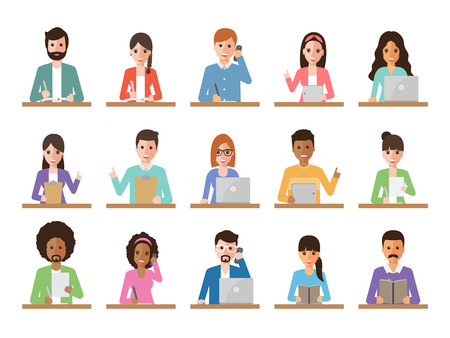 Group of diverse working people on white background. Businessman and businesswoman using laptop, tablet and smartphone. Vector illustration of flat design people characters. Vettoriali