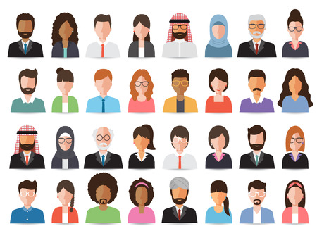 Group of working people, business men and business women avatar icons. Ilustração