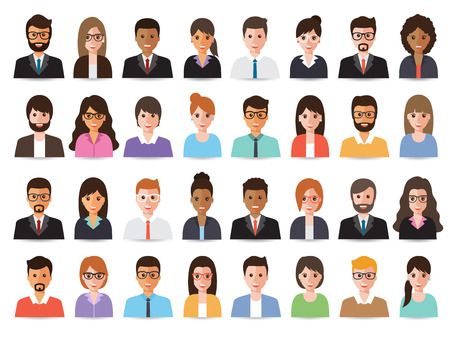 Group of diverse working people, business men and business women avatar icons. Vector illustration of flat design people characters. Vettoriali