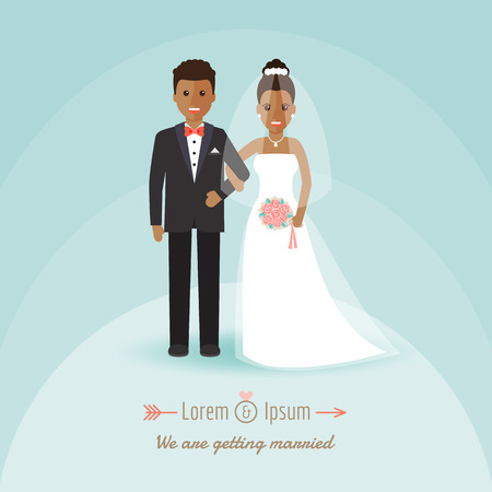 African groom and bride, couple holding hands on wedding ceremony. Vector illustration of Wedding invitation in flat design people characters.