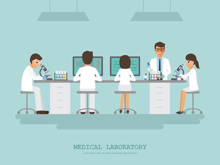 Professor, doctor, scientist and science technician doing research and analysis in medical science laboratory. Vector illustration of flat design people characters.