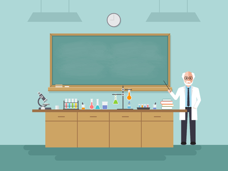 Senior science teacher, scientist professor standing with chalkboard teaching student in laboratory classroom at school, college or university. Vector illustration of flat design people characters.