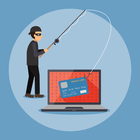 stealing data: Cyber thief, hacker, holding fishing rod phishing the credit card on computer laptop, Cyber security and crime concept. Vector illustration of flat design.