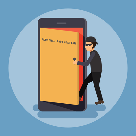 Cyber thief, hacker, open the door and access to get personal information on smartphone. Cyber security and crime concept. Vector illustration of flat design.