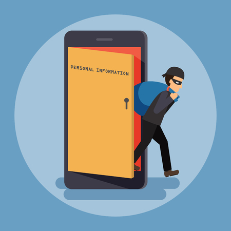 Cyber thief, hacker, get out of the door with a bag of personal information on smartphone. Cyber security and crime concept. Vector illustration of flat design.