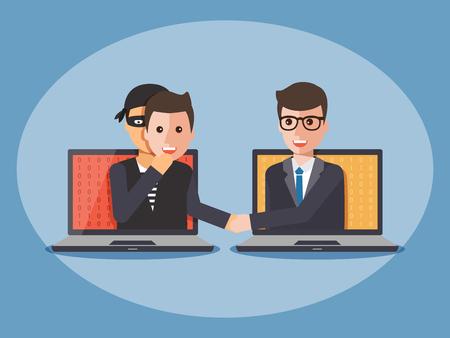サイバー泥棒、ハッカー、男のマスクを身に着けているとコンピューターのラップトップ上 businessmano と握手します。サイバー セキュリティと犯罪