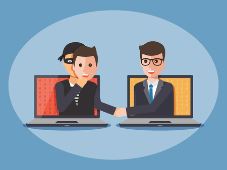Cyber thief, hacker, wearing a man mask and shaking hand with businessmano on computer laptop. Cyber security and crime concept. Vector illustration of flat design people characters.