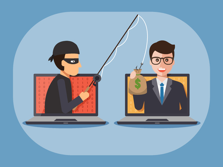 laptop computer: Cyber thief, hacker, holding fishing rod phishing businessmans money bag on computer laptop. Cyber security and crime concept. Vector illustration of flat design people characters.