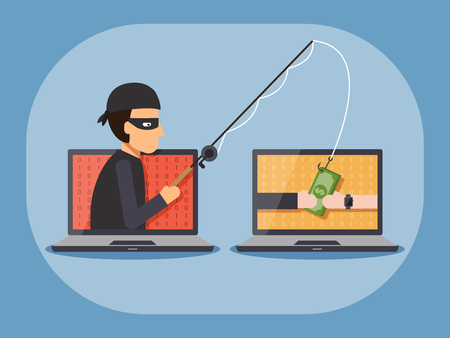 Cyber thief, hacker, holding fishing rod phishing money cash with hands on computer laptop. Cyber security and crime concept. Vector illustration of flat design people characters. Illustration