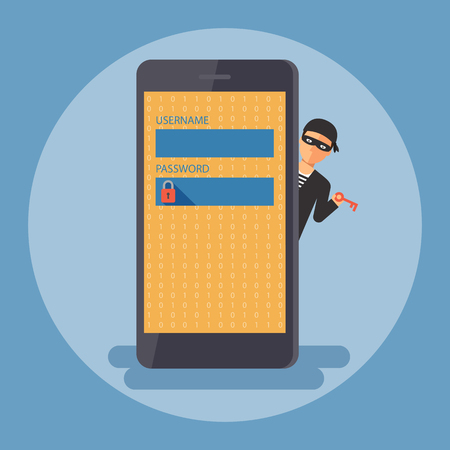 Cyber thief, hacker, holding key waiting to get access smartphone by unlock password. Cyber security and crime concept. Vector illustration of flat design people characters.