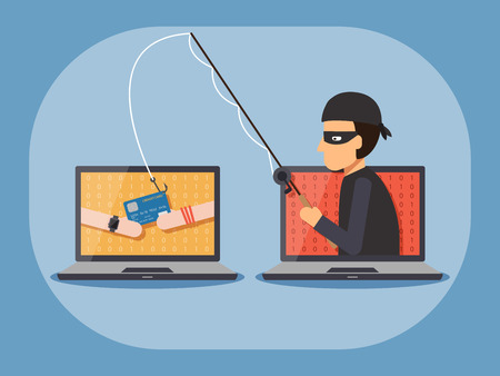 Cyber thief, hacker, holding fishing rod phishing credit card with hands on computer laptop. Cyber security and crime concept. Vector illustration of flat design people characters.