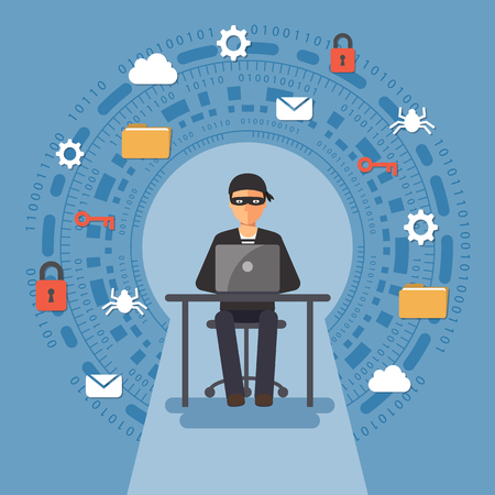 Cyber thief, hacker, hacking personal information. Cyber security and crime concept. Vector illustration of flat design people characters. Ilustração