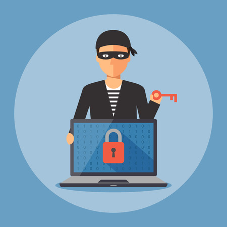 Cyber thief holding key to unlock computer laptop, Cyber security and crime concept. Vector illustration of flat design.