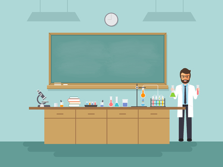 Science teacher, scientist professor standing with chalkboard teaching student in laboratory classroom at school, college or university.