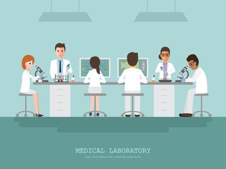 Profesor, lekarz, naukowiec i technik naukowy prowadzący badania i analizy w laboratorium nauk medycznych.
