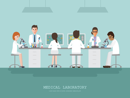 Professor, doctor, scientist and science technician doing research and analysis in medical science laboratory.
