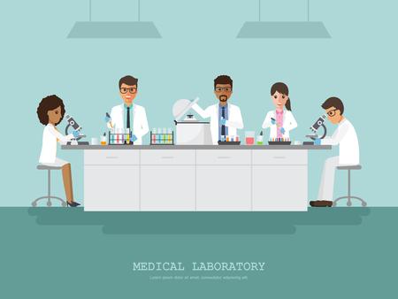 investigando: Profesor, doctor, científico y técnico de la ciencia que hace la investigación y el análisis en laboratorio médico de la ciencia. Vectores