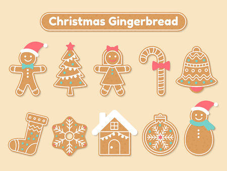 Set of diverse Christmas gingerbreads Ilustração