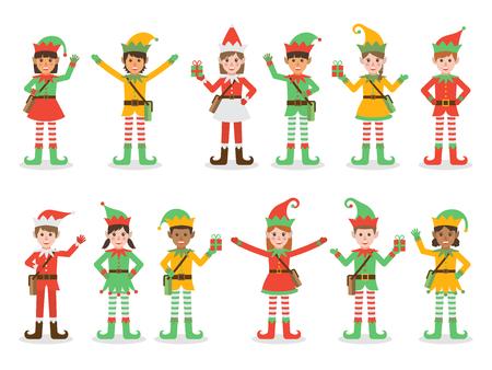 Set of diverse boys and girls wearing elf costumes Ilustração