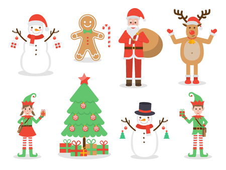 Set of Christmas related Flat design characters.