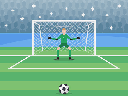 Soccer sport athlete, football goalkeeper defending a penalty shoot. Flat design people characters.