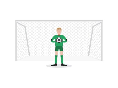 Soccer sport athlete, football goalkeeper defending a penalty shoot. Flat design people characters.