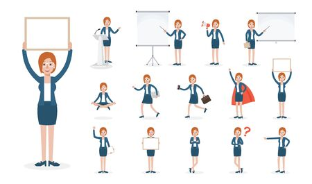 Set of working people on white background. Businesswoman at work in flat design people characters. Ilustração