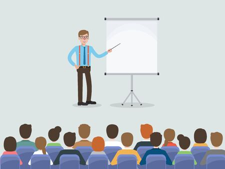 Group of working people, businessman and businesswoman meeting in conference room or in office. Flat design people characters.