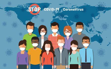 People around the world wearing face masks standing fighting for Coronavirus, Covid-19 on world map. Corona virus disease awareness. Ilustração