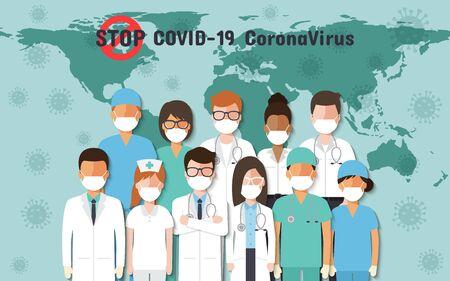 Doctors, nurses and people around the world wearing face masks standing fighting for Coronavirus, Covid-19 on world map. Corona virus disease awareness.