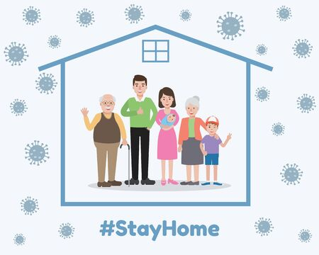 Old and young family members, avoiding and preventing Coronavirus pandemic and Covid-19 spreading by staying at home. Coronavirus Disease awareness.