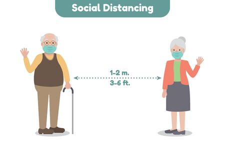 Elderly family members, avoiding and preventing Coronavirus pandemic and Covid-19 spreading by staying at home and social distancing. Coronavirus Disease awareness.