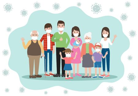 Old and young family members, wearing face masks avoiding and preventing Corona virus pandemic and Covid-19 spreading by staying at home. Coronavirus Disease awareness. Ilustração
