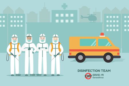 Disinfection team, medical staff preventing Corona virus pandemic and Covid-19 spreading. Coronavirus Disease awareness. Ilustração