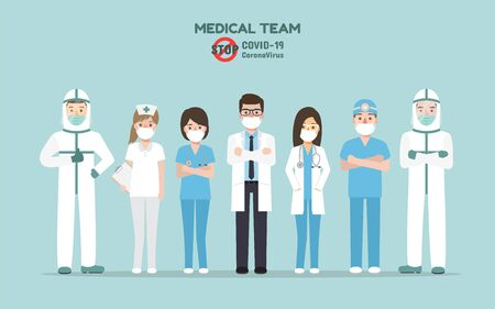 Doctors, nurses and medical staff, Medical team, team up fighting for Corona virus pandemic and Covid-19 spreading. Coronavirus Disease awareness.
