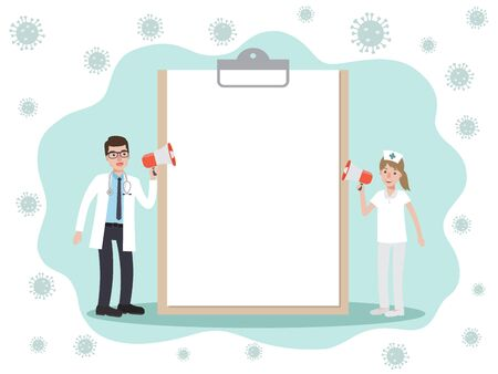 Doctor and nurse, holding megaphone requesting other people avoid and prevent Coronavirus pandemic and Covid-19 spreading with coronavirus floating on background. Coronavirus Disease wareness.