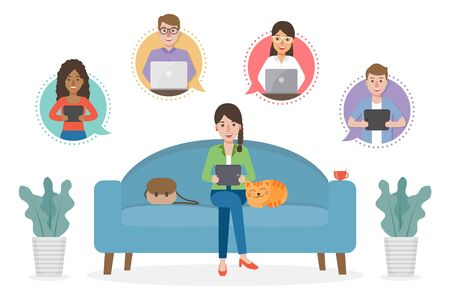 A woman working from home during Covid-19 pandemic by sitting with a cat on sofa at living room doing teleconference with colleagues. Work from home concept.
