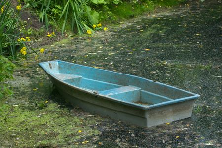 punting: Blue boat on shore of parks pond