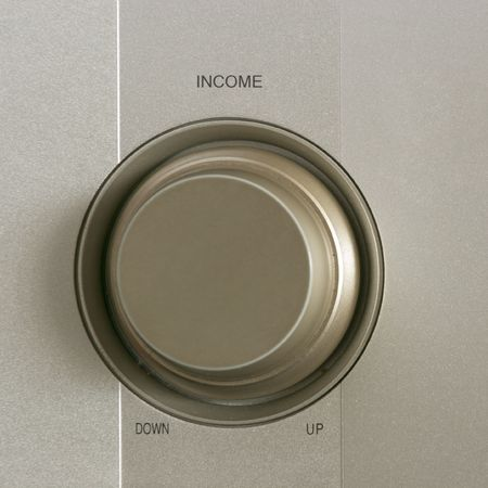 Round regulator on aluminium panel with Income title photo